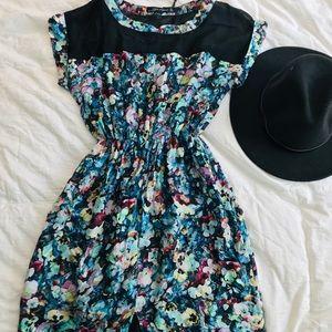 Zara Women's Floral Mesh Top Pleated Dress